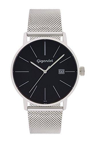 Gigandet Men's Quartz Watch Minimalism Analogue Stainless Steel Mesh Bracelet Black Silver G42-006