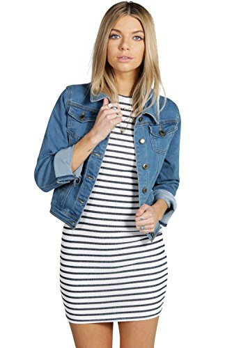 Femmes Mid Blue Amelia Slim Fit Denim Jacket Mid Blue