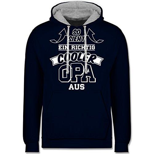 Opa - So sieht ein richtig cooler Opa aus - Kontrast Hoodie Dunkelblau/Grau meliert