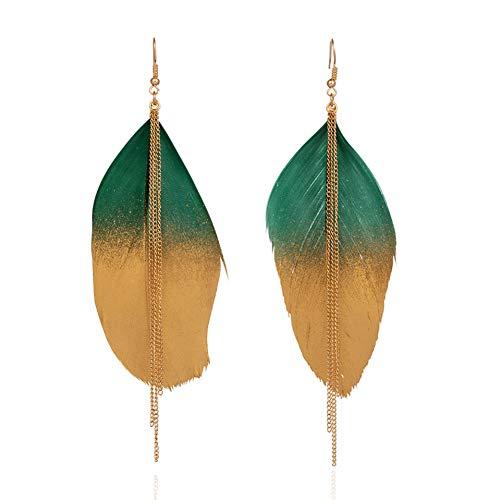WOVP Ohrringe Mehrere Farben Vintage Goldene Feder Baumeln Ohrringe Für Frauen Weiblichen Schmuck Zubehör