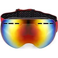 Shuzhen,Gafas de esquí antideslizamiento esféricas Unisex Gafas de Escalada Gafas(Color:Rojo)