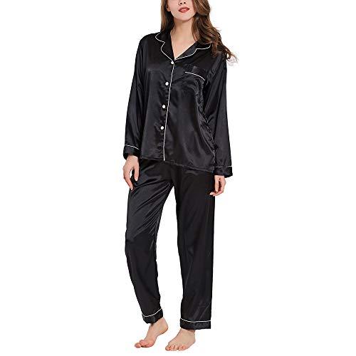 GAESHOW Nachtwäsche Damen 2 Stück Schlafanzüge Satin Träger Dessous Sexy Split Zurück Pyjama Set mit Negligee Sleepwear Sets -