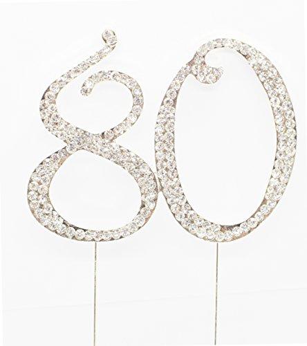 Strass Geburtstag Jahrestag Kuchen-Deckel Nummer 80. Diamante Edelstein -Dekoration Pick - 80 (Geburtstag-kuchen-deckel 18)