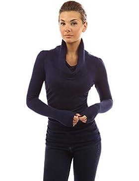 PattyBoutik Mujer suéter cuello vuelto lados fruncidos