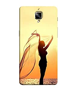 One Plus Three, One Plus 3 Back Cover, One Plus 3 Back Case Woman Open Arms Under The Sunset At Sea Design From Printvisa