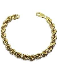 Never Say Never Pulsera cordón de Oro Amarillo de 18k de 7.00mm de Ancho por 18cm de Largo. Ideal para Mujer. Cierre mosquetón para máxima Seguridad Peso; 13.60gr de Oro de 18k.