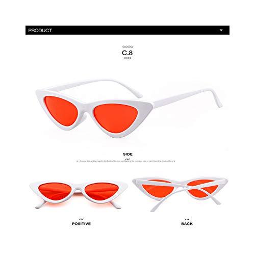 Sportbrillen, Angeln Golfbrille,Longkeeper Cute Sexy Retro Cat Eye Sunglasses Women Small Black White NEW Triangle Vintage Cheap Sun Gglasses Red Female UV400 C8