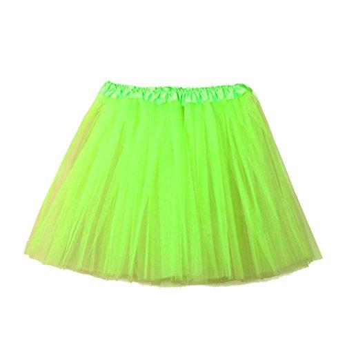 �Dragon868 Erwachsenen Mädchen Solide Qualität Plissee Gaze Kurzen Rock Tutu Tanzen Rock (Grün, Freie Größe) (Kostüme Karneval Taille 50)