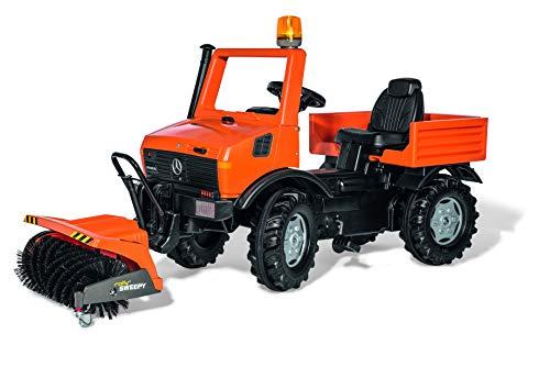 Rolly Toys 038190 rollyUnimog Service | Unimog mit Sitzverstellung, Flüsterreifen und Vorbeikehrmaschiene Sweepy, Flashlight, Kettenschutz | ab 3 Jahren | Farbe orange