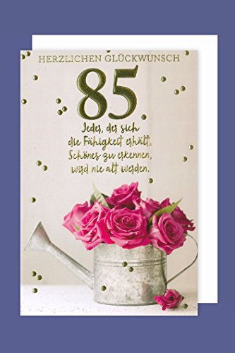 Geburtstag 85 Karte Grußkarte Gold Prägefolien Druck Gießkanne 16x11cm