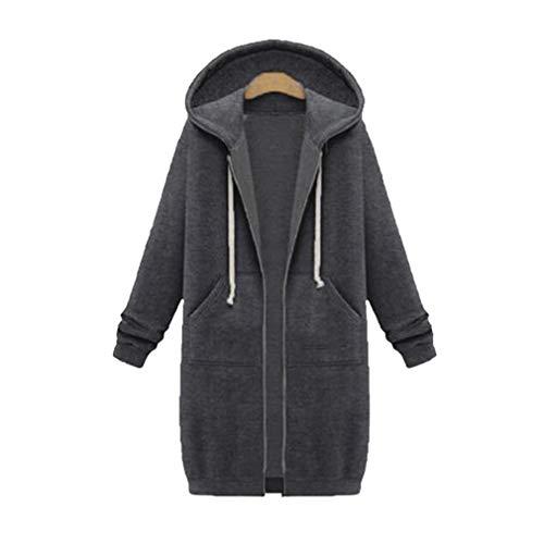 Hooded Knit Poncho (junkai Damen Langarm Hooded Hoodies Jumper Warm Cardigan Zip up Jacke Kordelzug Pullover mit Kapuze Tasche Sweatshirt Oversized Lange Coat)