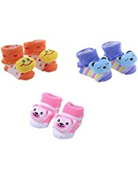Clastik Cartoon Face Socks for Baby Girl and Boy (0-9 Months,Multicolor) Pack of 3 Pairs Color and Design May Vary