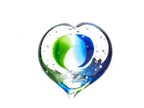 Glas Paperweight glass heart blau grün Briefbeschwerer Skulptur 10 cm (Für Fotos Glas-briefbeschwerer)