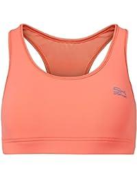 Sportkind Soutien-gorge de sport / tennis / fitness avec maintien moyen pour fille et femme en orange fluo tailles 11 ans à XL