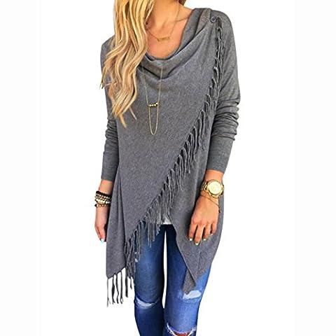 Tonsee® Les femmes à manches longues Tassel Slash Blouse Tops shirt (M, gris)