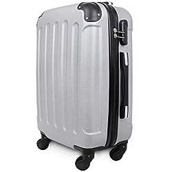 Todeco - Valise à Main, Bagage pour Cabine - Taille (roues incluses): 56 x 38 x 22 cm - Taille intérieure: 49 x 35 x 21 cm - Coins protégés, Bagage de cabine 51 cm, Argent, ABS