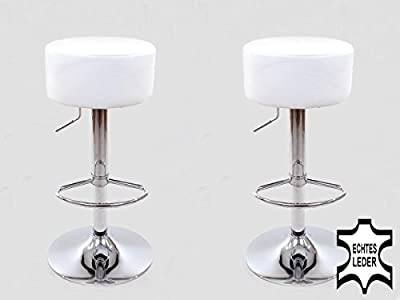 2x Barstools White REAL LEATHER Swivel height adjustable upholstery - low-cost UK light store.