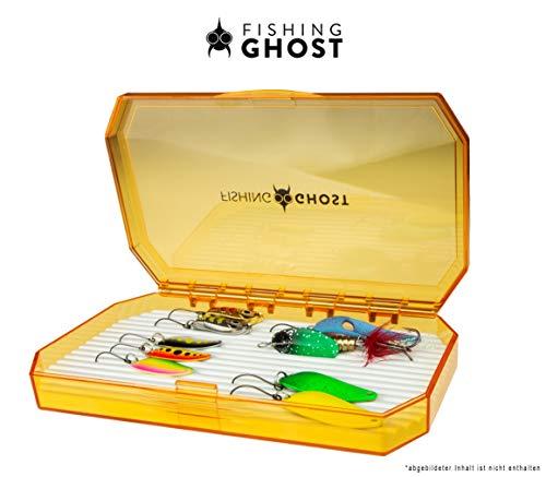 FISHINGGHOST® Köderbox - Blinkertasche für Spoons, Spinner, Blinker und Fliegen - extrem flach, passt in Jede Jacke oder Tasche - 8 Reihen mit je 25 Slots (Blinkerbox orange)