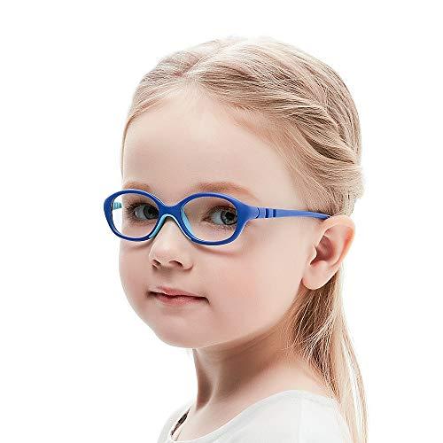 Unzerbrechlich biegsam Kinder Kids Brille Teenager Gestell Rahmen Fassung grau und rosa Gläser klar, oval schick für Mädchen (Alter2-5 Jahre) (WK12 C7 Blue) (Kinder Brille Für)
