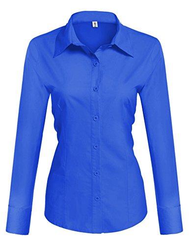 BeautyUU Damen Hemd Langarm Bluse Einfarbig Damenbluse Freizeithemd Business Hemd Baumwolle Königsblau M