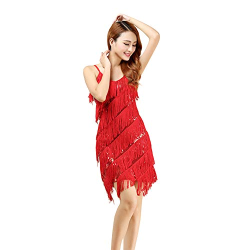 Amphia Latein KostüM Damen Bead Sequined Quaste Röcke,Frauen Classic Latin Rock Praxis Kleid Dance KostüM Tanzwettbewerb Performance Dress (Rot, One Size) (Samba Kostüm)