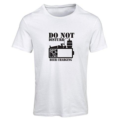 Frauen T-Shirt Bier Aufladung - Alkohol Hemden, Büro Kleidung, für Party (Medium Weiß Schwarz) -