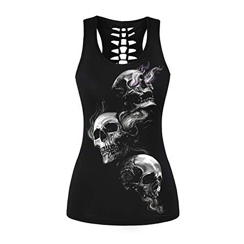 Morbuy Damen Tanks Tops Halloween Bluse, Schädel Drucke Casual Sleeveless Workout Oansatz Tank Tees Punk Weste Gothic Sport Gym (XL, 3 Schädel)