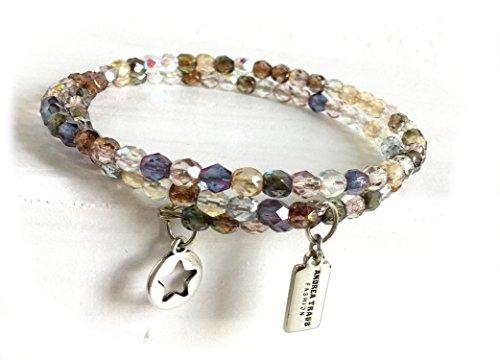 Transparente Schimmer (Armband gewickelt zierlich, filigran 4mm Glasperlen Naturtöne mit tollem Schimmer leicht transparent auf Memorywire mit Anhänger Stern)