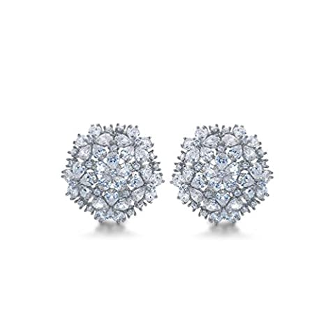 RedFly 18ct White Gold Plated Flower Bridal Stud Earrings with Cubic Zirconia Crystal