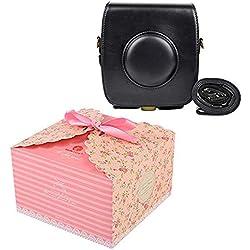 SUNYOY PU Housse en cuir pour appareil photo instantané hybride Fujifilm Instax Square SQ10 (Noir)