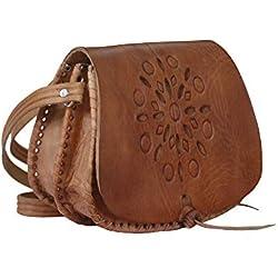 Bolso de mujer de piel, vintage artesanal cuero (estrella)