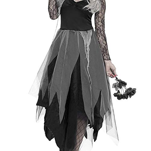 Elfisheu halloween costume da sposa zombie fantasma cadavere sposa vestito per donne adulte