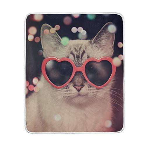 CPYang Überwurf, niedliche Tier-Katze, Sonnenbrille, weiche Mikrofaser, Geschenk, Reisebett, Sofa, Decke, 127 x 152 cm, für Kinder, Jungen, Mädchen, Damen und Herren