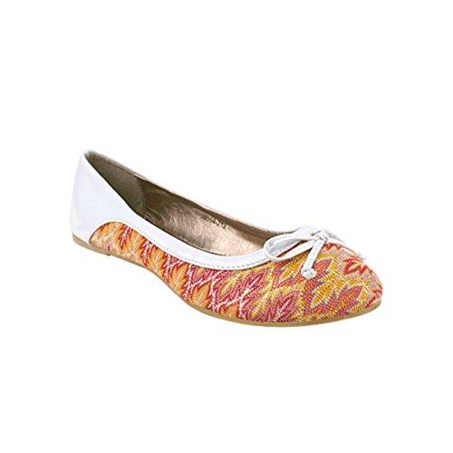 Cendriyon Ballerine Multicolore avec Talon Verni Blanc ELLA Chaussures Femme