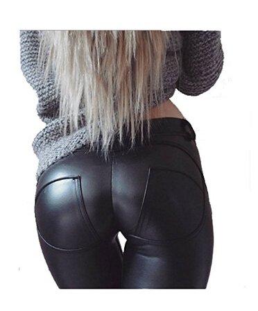 aceshin Leggins Cuero de Imitación Pantalones Lápiz Elásticos de Cintura Alta para Mujer