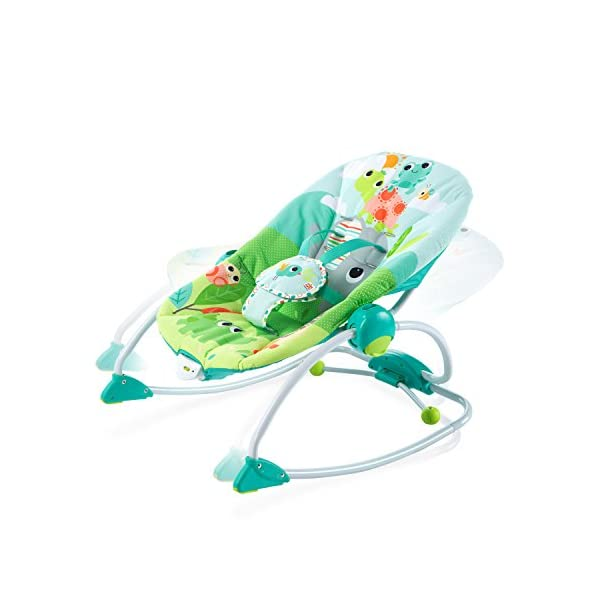 Bright Starts Playful Parade Baby to Big Kid Rocker Bright-Starts Seat can rock back and forth to soothe, or can be set to a fixed position for small babies and older toddlers Full body recline with 2 positions Soothing vibrations 7