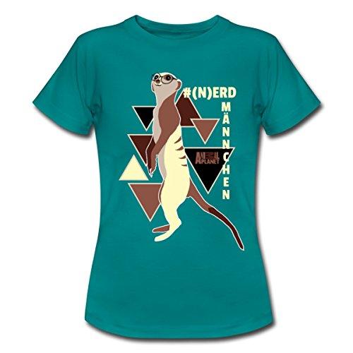 Spreadshirt Animal Planet Nerdmännchen Erdmännchen Nerd Frauen T-Shirt, L, Divablau