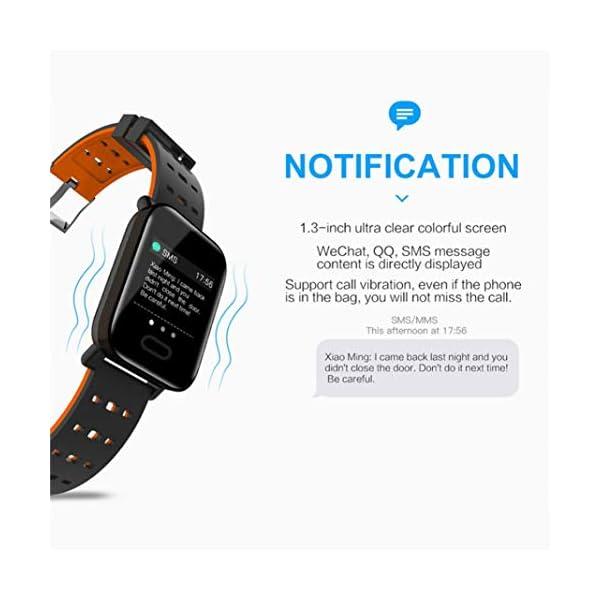 Pulsera inteligente con monitor de actividad física, pantalla de color A6, Bluetooth, monitor de ritmo cardíaco, podómetro, pulsera inteligente para niños, mujeres y hombres azul 9