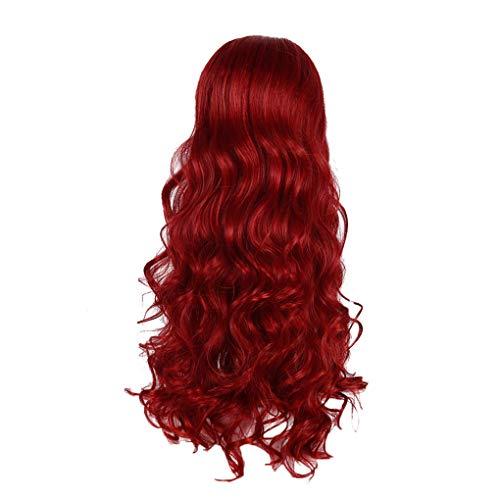 Damenperücken 75 cm/Dorical Frauen Rot Wigs/Stilvoll Lang Lockiges Haarteile/Perücke für Karneval Fasching Cosplay Party Kostüm für verschiedene Hautfarben(Rot)