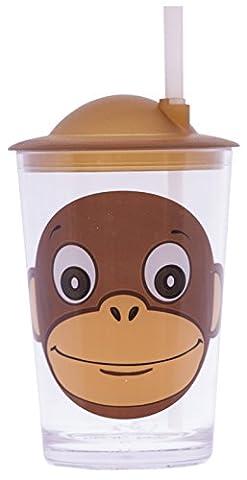 Epicurean Europe 7.5 x 7.5 x 14.2 cm Acrylic SAN Friendly Faces Children's Brown Monkey Design Tumbler with Straw Lid,