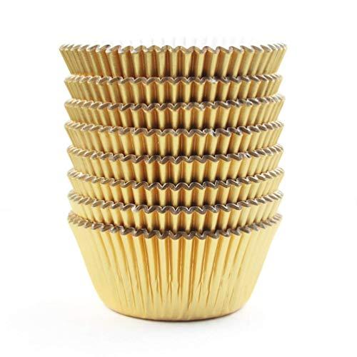 100pcs Verdicken Cupcake Wrappers Cupcake Verpackungen für Hochzeit Weihnachten Geburtstag Party Dekoration Gold
