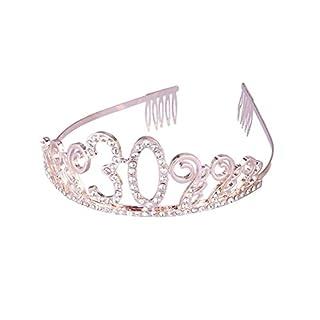 Frcolor Couronne Anniversaire 30 Ans Tiare Diadème Princesse avec Peigne Strass Cristal (Roségold)