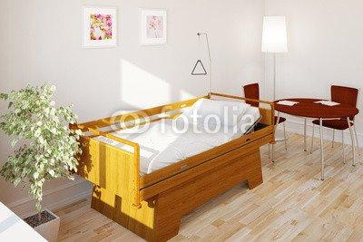 "Alu-Dibond-Bild 120 x 80 cm: ""Pflegebett im Zimmer im Pflegeheim"", Bild auf Alu-Dibond"