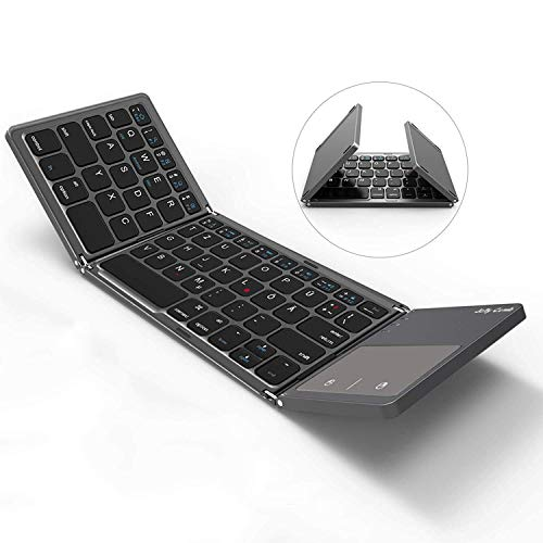 Tastatur mit Touchpad, Faltbare Kabellose Mini Funktastatur, QWERTZ Deutsches Layout, Kompatibel mit PC, Laptop, iPad, Android Tablet(Samsung, Huawei usw), Smartphone, Grau ()