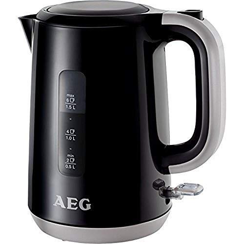 AEG EWA3700 AEG Expresswasserkocher (1.7 Liter, schnelles Aufkochen dank leistungsstarken 3000 Watt, automatische Sicherheitsabschaltung) Schwarz -