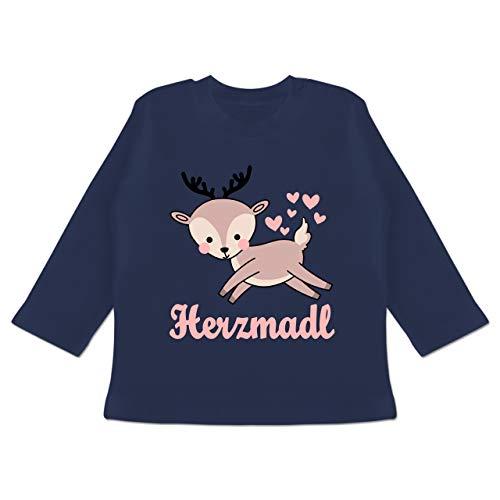 Oktoberfest Baby - Herzmadl mit süßem REH - 18-24 Monate - Navy Blau - BZ11 - Baby T-Shirt Langarm -