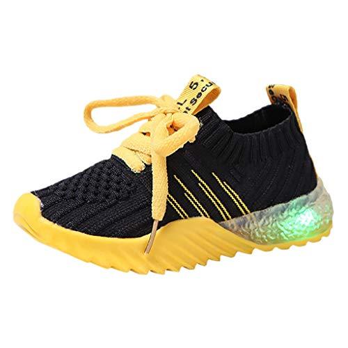 Sllowwa Baby Kleinkind Kinder LED Leuchtschuhe Sport-Lauf-Turnschuh-Schuhe Süßigkeit-Farbe Turnschuhe Sneaker(Schwarz,24)