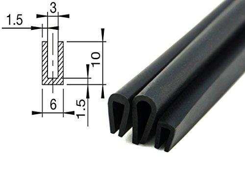 10 m Kantenschutzprofil schwarz für 1-2 mm Kantenschutz Keder Dichtungsprofil