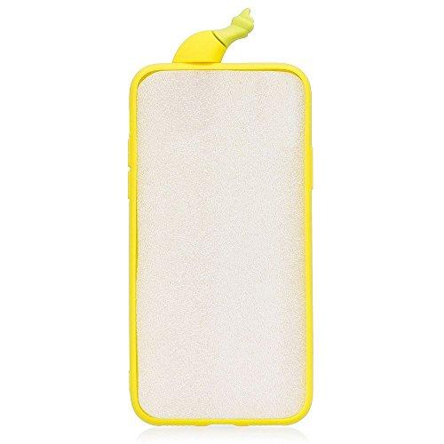 Coque iPhone 6 Plus Cartoon Mignon 3D Banane, Solaxi Etui iPhone 6S Plus Coque Souple TPU Housse de Protection Silicone Case Cover pour Apple iPhone 6 Plus / 6S Plus (5,5 pouces) [Ultra Mince] [Anti-C Jaune
