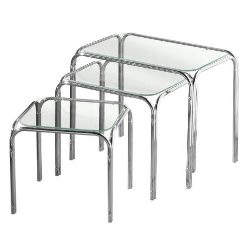 Premier Housewares - Juego de 3 mesas auxiliares, encimera de cristal